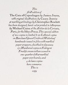 James Joyce, 'The Cats of Copenhagen' (Ithys Colophon Detail Type Design, Graphic Design, James Joyce, Stories For Kids, Letterpress, Copenhagen, Childrens Books, Lettering, Detail