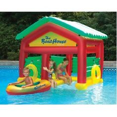 Heritage Floating Boat House with Removable Roof Raft Kids Swimming Pool Schwimmendes Boot, Cool Pool Floats, Pool Floats For Kids, Inflatable Pool Toys, Inflatable Island, Pool Rafts, Water Floaties, Pool Water, Floating Boat