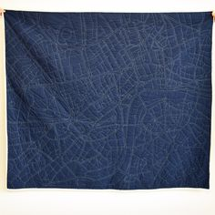 A map of London stitched on a quilt-- amazing!