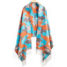 24,90EUR Schal mit Fransen und Camouflagemuster in blau orange
