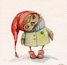 Super cute owl by the artist Inga Paltser Art And Illustration, Art Illustrations, Art Fantaisiste, Owl Art, Animals Watercolor, Watercolor Paintings, Owl Paintings, Owl Always Love You, Christmas Owls