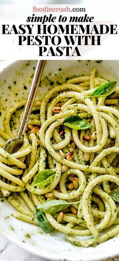 Healthy dinner recipes with chicken and shrimp pasta recipe using Healthy Pastas, Healthy Dinner Recipes, Cooking Recipes, Simple Recipes, Healthy Food, Pot Pasta, Pasta Dishes, Pesto Pasta Recipes, Recipe Pasta