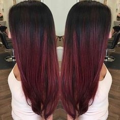 Dark Cherry Red Highlights for Brunettes