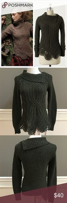 Anthropologie Cabled Pathways Pullover EUC. By Moth. From 2010 Holiday catalog. Selling the green motif. Color best represented in pics 2 & 3. Size small. Measurements soon. Anthropologie Sweaters
