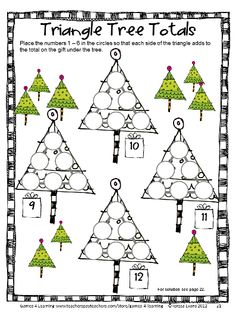 A Christmas math puzzle to keep the kids busy! From Christmas Math Games, Puzzles and Brain Teasers from Games 4 Learning. $