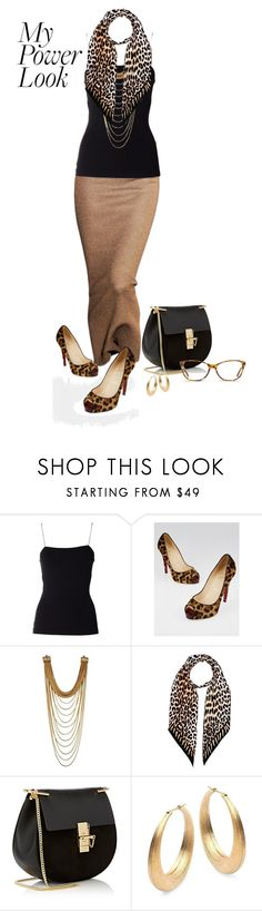 """Summer power look"" by nicole-christie-mennen ❤ liked on Polyvore featuring T By Alexander Wang, Christian Louboutin, Rockins, Chloé and GlassesUSA"