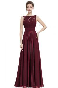 Wine Lace Satin & Chiffon Evening Dress