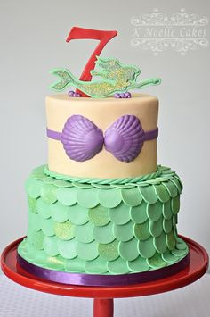 Mermaid cake by K Noelle cakes Little Mermaid Parties, The Little Mermaid, Disney Themed Cakes, Hulk Party, Fondant, 5th Birthday, Birthday Cakes, Mermaid Cakes, Princess Party
