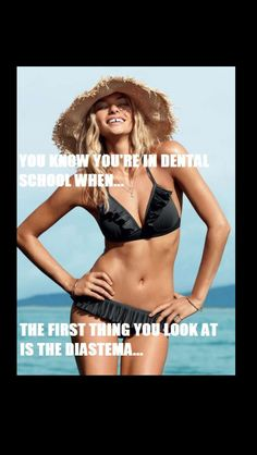 I'm not in hygiene school but I've been in dental for 15 years. Even my kids look at someone's teeth before anything else. Dental World, Dental Life, Dental Health, Dental Hygiene Student, Dental Assistant, Dental Hygienist, Mini Bikini, Dental Quotes, Dentist Humor