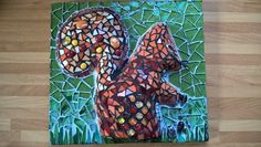 Red squirrel in the garden stained glass mosaic picture