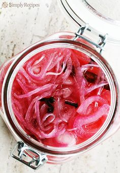 Make your own Pickled Red Onions, it's quick and EASY! Thinly sliced red onions pickled in vinegar with spices. ~ SimplyRecipes.com