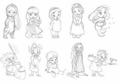 Disney Animators' Collection Sketches by Madambrightside Disney Pixar, Disney Animators, Art Disney, Disney And Dreamworks, Disney Magic, Disney Princesses, Baby Disney Characters, Chibi Disney, Disney Babys