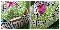 pottery barn inspired tote tutorial | kojodesigns. One pinned said would be better with a liner, straps on inside or around the outside of bag (all the way around). I agree, but like the decorative gathered side piece and the outside pockets. Could easily add these to a tote