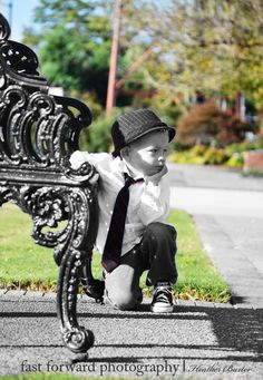child photography 3 year old boy fedora and black tie downtown buford