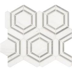 MSI Georama Grigio 13 in. x 11 in. x Polished Marble Mesh-Mounted Mosaic Tile sq. Honed Marble, Marble Mosaic, Mosaic Tiles, Shower Backsplash, Bathroom Flooring, Kitchen Backsplash, Shower Surround, Thing 1, Modern Coastal