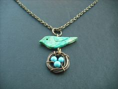 turquoise bird and nest necklace  antique brass by KeoniDesign, $29.50