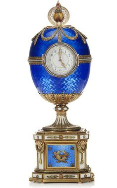 The Chanticleer Faberge Egg for the Kelch family in 1904.  The clock has a special surprise inside, the rooster automaton that crows the hour.  It is made of gold, pearls, diamonds and silver.