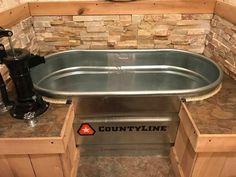Stock tank bathtub — bathroom remodel, via Amy Feeback – Diy Bathroom İdeas