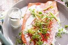Oven-steamed salmon with coconut milk dressing