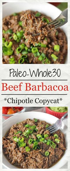 Paleo Beef Barbacoa (Chipotle Copycat)- Whole30 approved, made in the instant pot, and so delicious! Tender, juicy, and so flavorful.