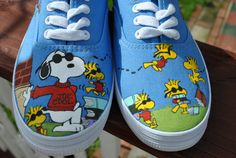 Cute and Funny Hand Painted Snoopy and by AnnetasticDesigns, $45.00