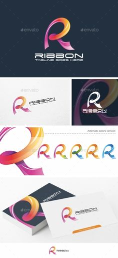 Ribbon / R Letter - Logo Template by putra_purwanto Ribbon / R Letter Logo Re-sizable vector 100 Editable text Easily customizable colors AI & EPS documents For any m 3d Logo, Logo Branding, Logos, Brochure Template, Card Templates, Flyer Template, Two Letter Logo, Ribbon Logo, Internet Logo