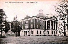 Old state capitol building, Tuscaloosa.  Card states Central Alabama Female College (after capital moved)