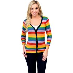 Rainbow Striped Three-Quarter Sleeve Button Up Cardigan ($29) ❤ liked on Polyvore featuring tops, cardigans, orange, v neck tops, orange cardigan, three quarter sleeve tops, 3/4 sleeve v neck cardigan and v-neck top