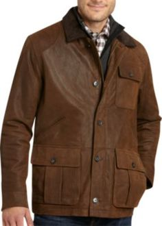 Pronto Blue Pigskin Suede Jacket, Chocolate Brown | Men's Wearhouse