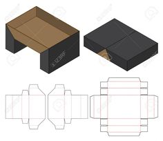 Illustration of Box packaging die cut template design. mock-up vector art, clipart and stock vectors. Box Packaging Templates, Food Box Packaging, Craft Packaging, Packaging Design Box, Cardboard Box Crafts, Creative Box, Diy Gift Box, Packaging Design Inspiration, Design Ideas