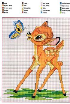 Bambi with a butterfly cross stitch pattern - free cross stitch patterns crochet knitting amigurumi Disney Cross Stitch Patterns, Cross Stitch For Kids, Cross Stitch Baby, Cross Stitch Animals, Cross Stitch Charts, Cross Stitch Designs, Cross Stitching, Cross Stitch Embroidery, Embroidery Patterns