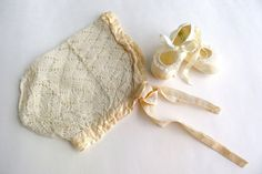 Vintage Lace Baby Bonnet, Victorian Ivory Embroidered Antique Baby Hat, Size 0-6 months on Etsy, $18.00