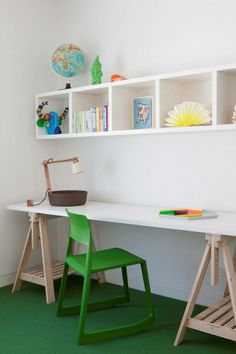 Kids Room Ideas | Play/Study area  Note: Carpeted flooring surface. Clear shelving. Pop of colour