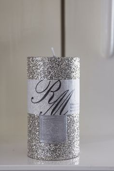 Silver Sparkle Candle 13x7