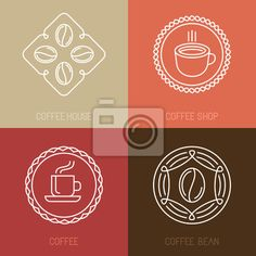 Carta da parati Vector set of coffee logos and icons