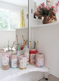 Such creative ideas for the jars....lovely way to organize your crafting tools - scissors, colored pencils, knitting or crochet needles etc.   {jars made by dottie angle}