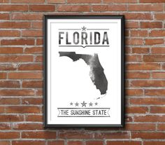 "Florida State Print _______________________________  - Print size available in: 13"" x 19"", 12 x 18, 11 x 14, 8 x 10, 6 x 8, or 5 x 7. Example"