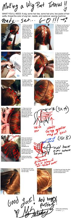 Parting a wig (pigtails, etc)