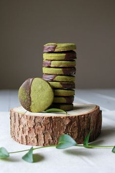 Chocolate Dipped Matcha Shortbread Cookies. A lovely little treat!