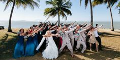How about a group dance pose for a wedding photo?