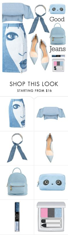 """""""denim"""" by katymill ❤ liked on Polyvore featuring Jeremy Scott, donni charm, Gianvito Rossi, Street Level, Anya Hindmarch, Revlon, RMK and alldenim"""