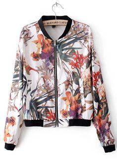 White Long Sleeve Flowers Print Bomber Jacket