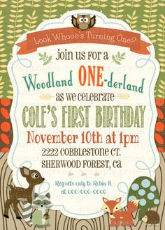 Items similar to Woodland First Birthday Boy Invitation Fall Nature Owl Deer - Digital - by girls at play girlsatplay on Etsy Birthday Themes For Boys, Baby Boy 1st Birthday, Fall Birthday, Boy Birthday Parties, Boys First Birthday Party Ideas, Woodland Party, Woodland Onederland Party, Woodland Theme, Party Banner