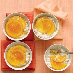 Vanilla Rice Puddings with Glazed Oranges