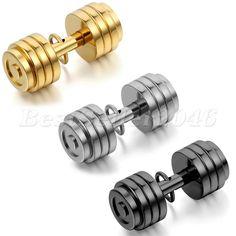 Edelstahl Anhänger Halskette Schwarz Gold Silber Fitness Hantel Dumbbell Barbell