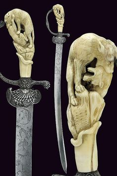 A hunting hanger with carved ivory grip, Germany, ca 1800.