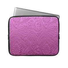 Cute pink seamless floral pattern design laptop computer sleeve $29.95