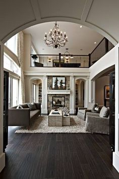 Stop dreaming, lets make it happen~! Dark wood floors open plan for classic elegance.