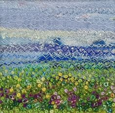 Beaded and embroidered fabric landscape - beaded flower meadow - square handmade fabric art card - needlework art for framing - french knots by StitchMikki on Etsy https://www.etsy.com/ca/listing/236197634/beaded-and-embroidered-fabric-landscape