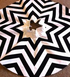 chevron tree skirt... Make it red or green or gold!!!! Love this... Too bad my color scheme doesn't go with the black and white one....